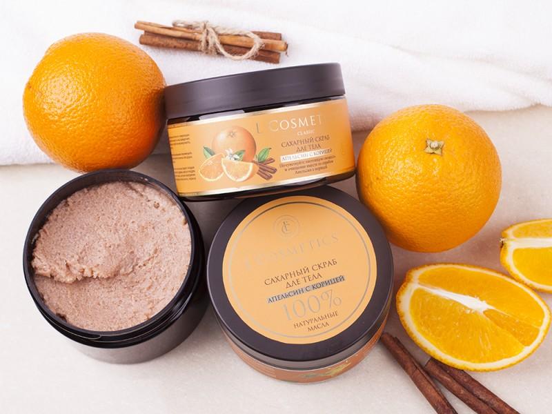 Очищающие натуральные скрабы сахарные: Скраб для тела сахарный «Апельсин с корицей» с корицей 260 г