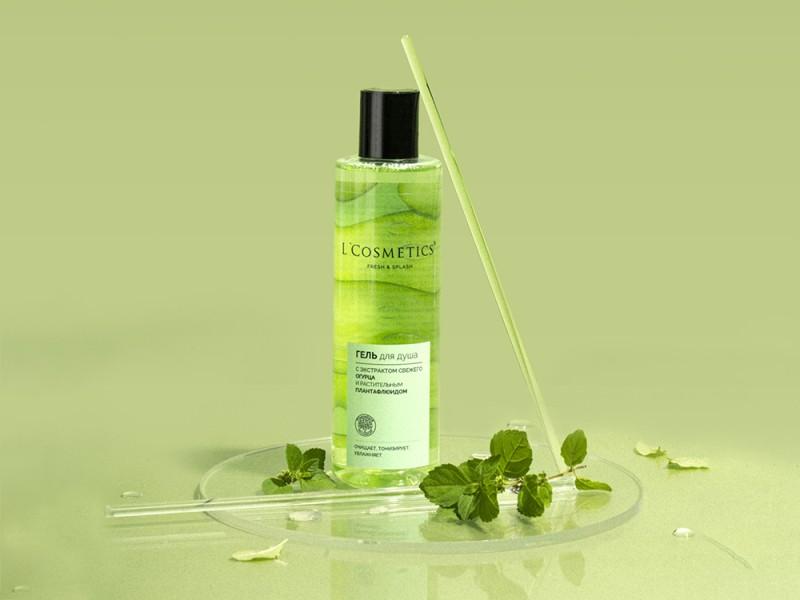Гель для душа L'Cosmetics серии «Fresh and Splash» с экстрактом свежего огурца и растительным плантафлюидом 250 мл
