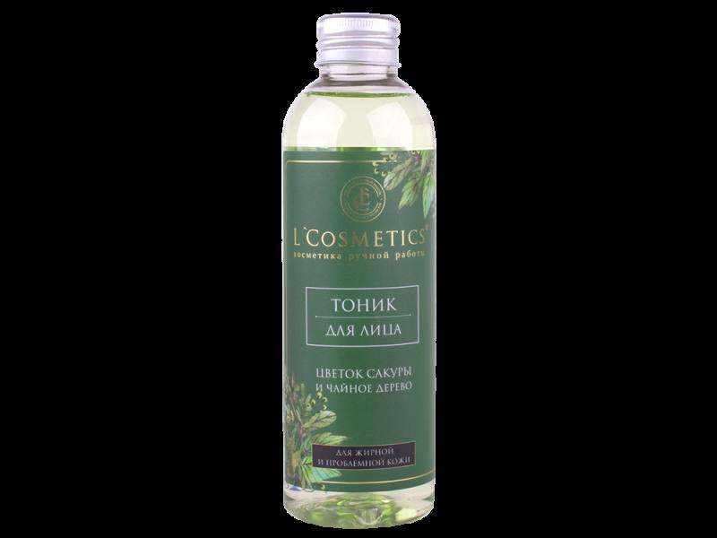 Тоник для лица «Цветок сакуры и чайное дерево» - бесспиртовое средство очищения жирной и проблемной кожи. 200 мл